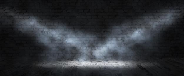 Plano de fundo de uma sala escura e vazia. paredes de tijolo vazias, luzes, fumaça, brilho, raios