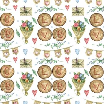 Plano de fundo desenhado à mão sobre o tema do dia dos namorados com uma inscrição de madeira amor, um buquê de flores