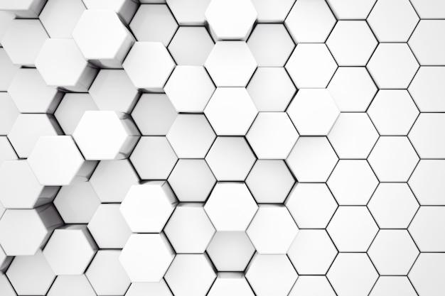 Plano de fundo do close up extremo do hexágono branco do metal. renderização 3d.