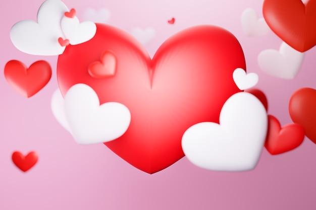 Plano de fundo do dia dos namorados com coração vermelho e branco, renderização de ilustrações em 3d