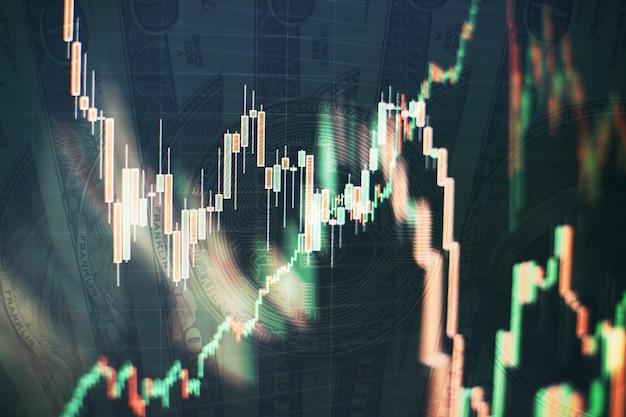 Plano de fundo do gráfico de negócios em um monitor que inclui a análise de mercado. gráficos de barras, diagramas, dados financeiros. gráfico forex.