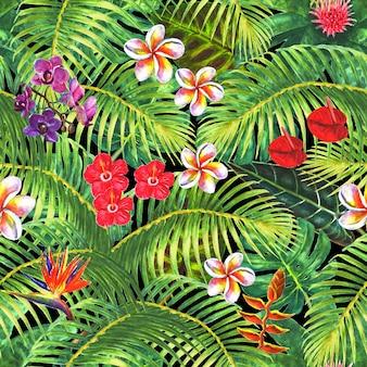 Plano de fundo do paraíso plantas exóticas tropicais folhas verdes ramos e flores brilhantes em fundo preto ilustração desenhada à mão em aquarela padrão sem emenda para embrulho de papel de parede têxtil