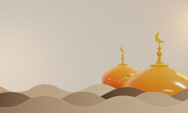 Plano de fundo do ramadã, área de texto do espaço de cópia, ilustração 3d
