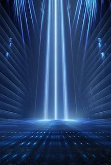 Plano de fundo do show de palco vazio. luz neon e show de laser. formas futuristas de laser em um fundo escuro. luz de néon azul, reflexão simétrica