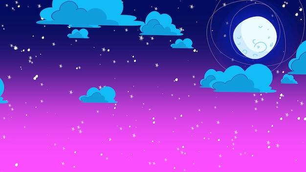 Plano de fundo dos desenhos animados com nuvens de movimento e lua, pano de fundo abstrato