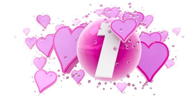 Plano de fundo em cores rosa com corações e esferas e o número um