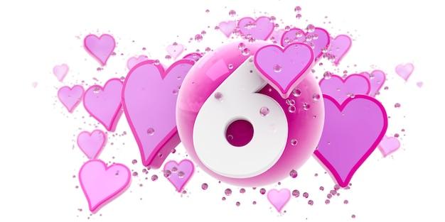 Plano de fundo em cores rosa com corações e esferas