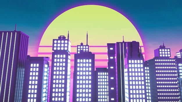 Plano de fundo em estilo retro-ondas da cidade de néon
