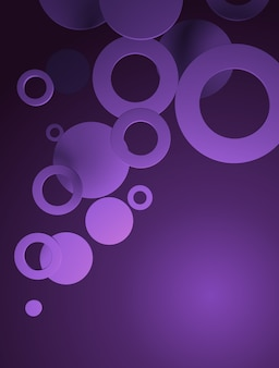 Plano de fundo em gradiente roxo, com figuras circulares
