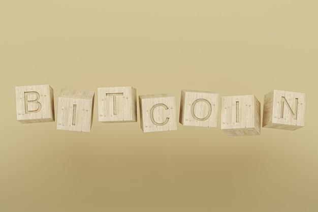 Plano de fundo minimalista para a moeda criptográfica, texto cúbico de madeira para bitcoin em fundo pastel. renderização 3d