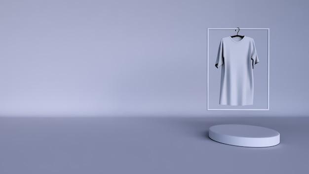 Plano de fundo mínimo, simulação de cena com pódio para exposição do produto. e camiseta branca lisa