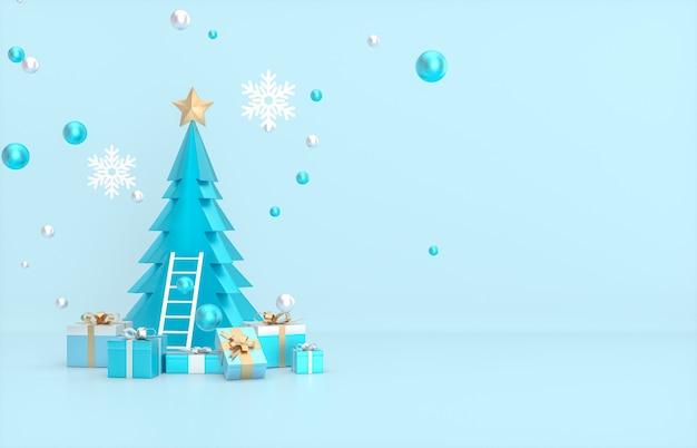 Plano de fundo natal e ano novo com árvore de natal e caixa de presente.