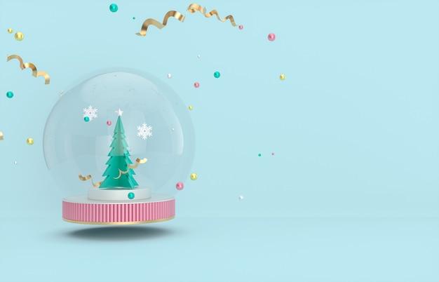 Plano de fundo natal e ano novo com árvore de natal e globo de neve.