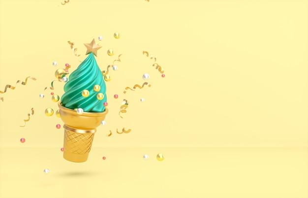 Plano de fundo natal e ano novo com árvore de natal na casquinha de sorvete.