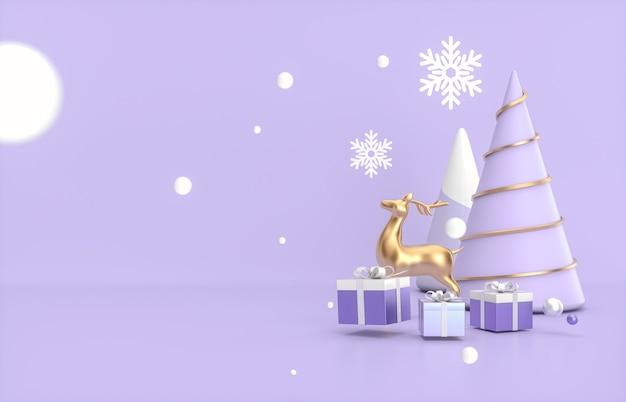 Plano de fundo natal e ano novo com árvore de natal, veados e caixa de presente.