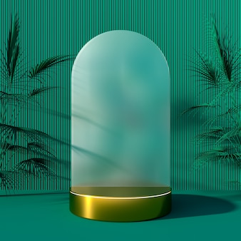 Plano de fundo ou pódio com exibição de objeto de forma cilíndrica de exibição de produto e renderização 3d de decoração de árvore