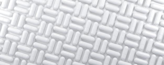 Plano de fundo padrão geométrico de cápsulas de comprimidos de medicamentos. ilustração 3d