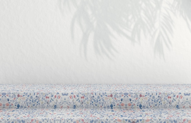 Plano de fundo para a exposição de produtos cosméticos. moda fundo com textura de terraço. renderização 3d.