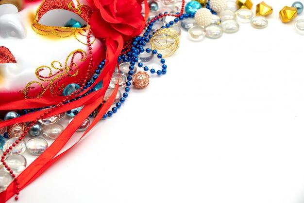 Plano de fundo para o carnaval ou terça-feira gorda com máscara de baile de máscaras