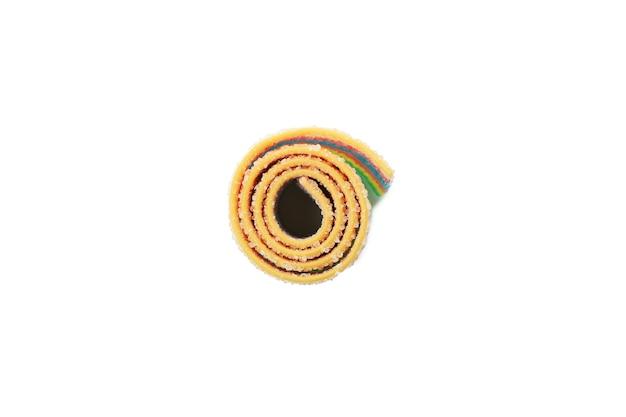Plano de fundo texturizado de grãos de café com tigela de pó, close-up