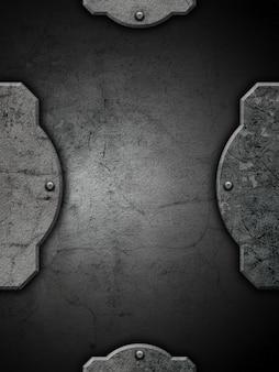 Plano de fundo texturizado grunge com moldura e rebites