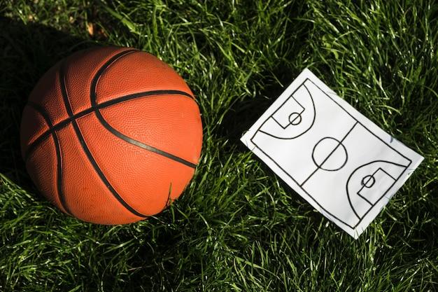 Plano de jogo e basquete close-up
