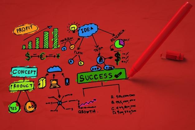 Plano de negócios colorido com caneta vermelha sobre fundo vermelho