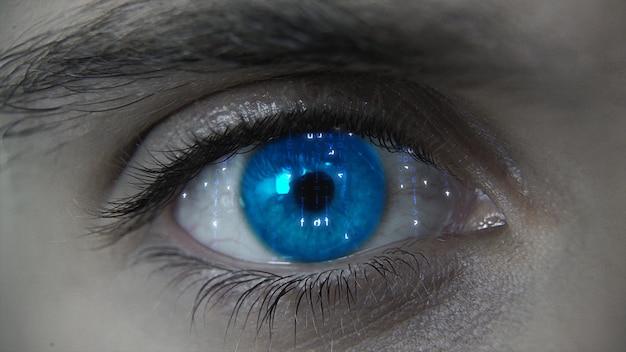 Plano de olho macro hud futurista azul macro