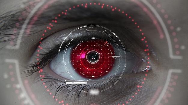 Plano de olho macro hud futurista vermelho macro