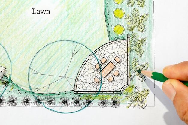 Plano de projeto do jardim do quintal.