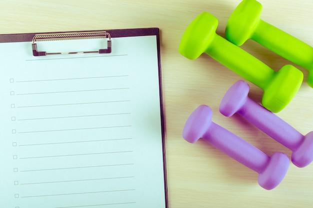 Plano de treino e equipamento desportivo