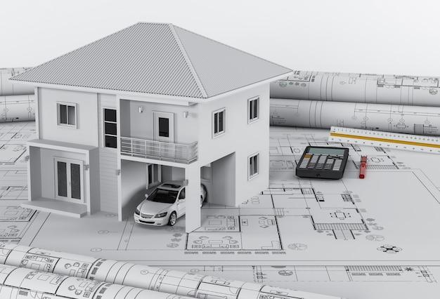 Planos de construção com ferramentas de desenho e casa, conceito de habitação arquitetônica.