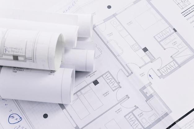 Planos de construção de close-up