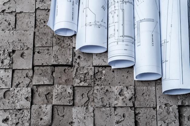 Planos de papel de arquitetura