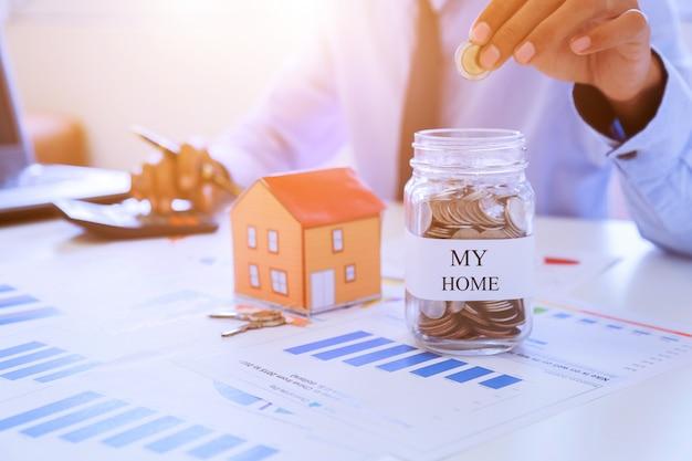 Planos de poupança para habitação, conceito financeiro.