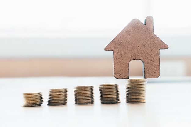 Planos de poupança para habitação, finanças e banca sobre concepção da casa