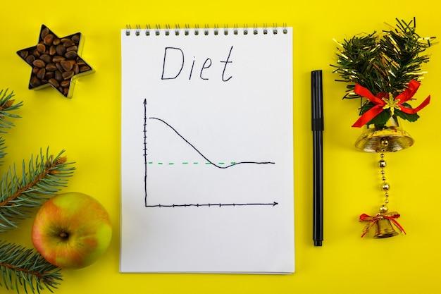 Planos para perder peso para o próximo ano com uma maçã e uma estrela de nozes e a dieta de inscrição.