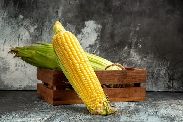 Planta amarela de milho cru fresco de vista frontal em fundo escuro