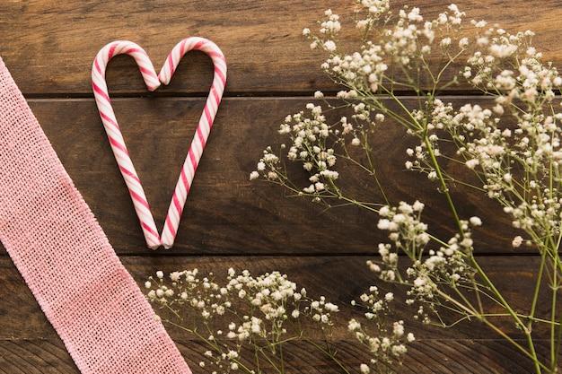 Planta com flores perto de bastões de doces e fita