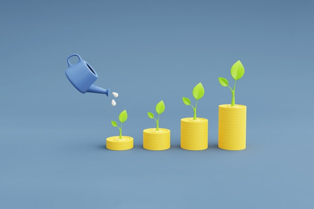 Planta crescendo com dinheiro, conceito de crescimento de ativos