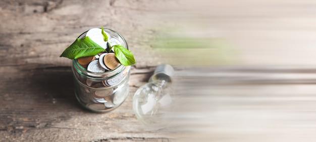 Planta crescendo em jarra com moedas na mesa de madeira e lâmpada - conceito de crescimento do investimento