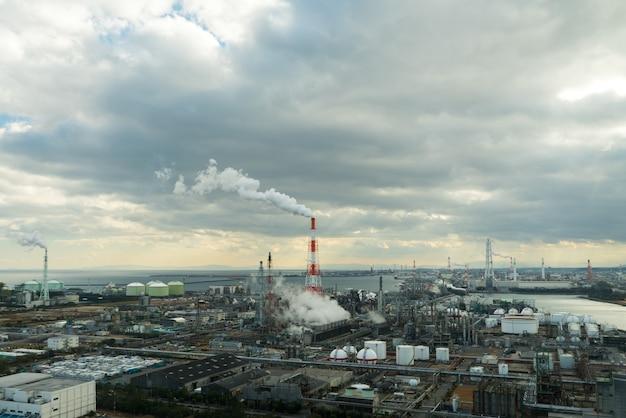 Planta da fábrica industrial no distrito industrial.