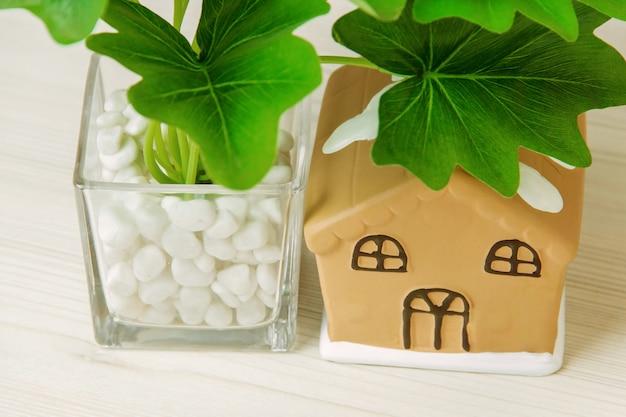 Planta de casa em pote, casa de brinquedo na mesa de madeira branca.