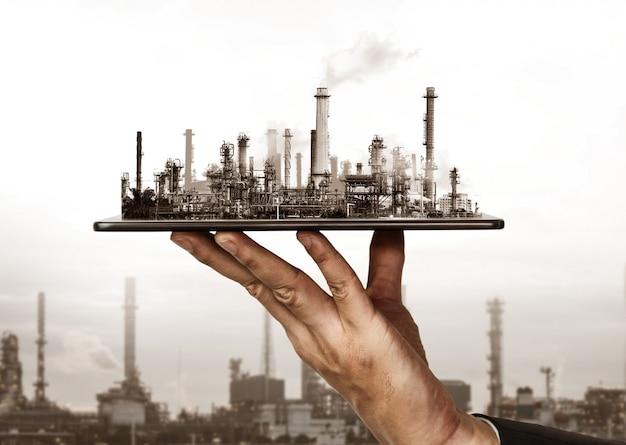 Planta de fábrica futura e conceito da indústria de energia.