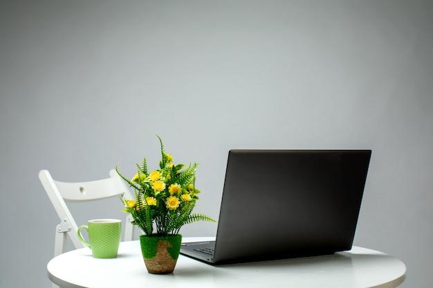 Planta de laptop e copo em cima da mesa