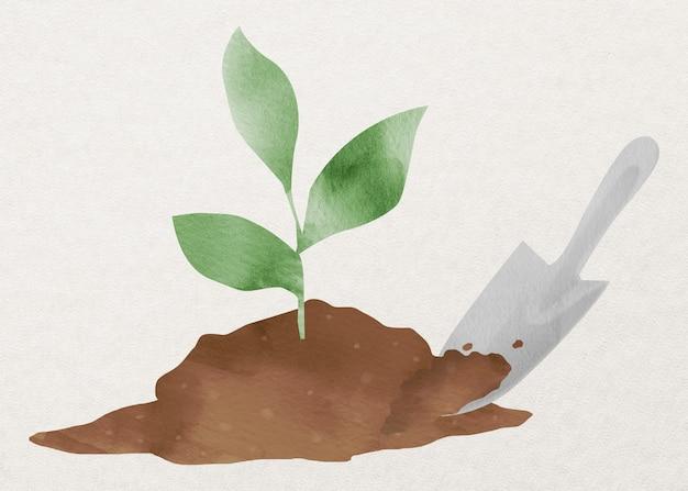 Planta de plantio com elemento de design de solo