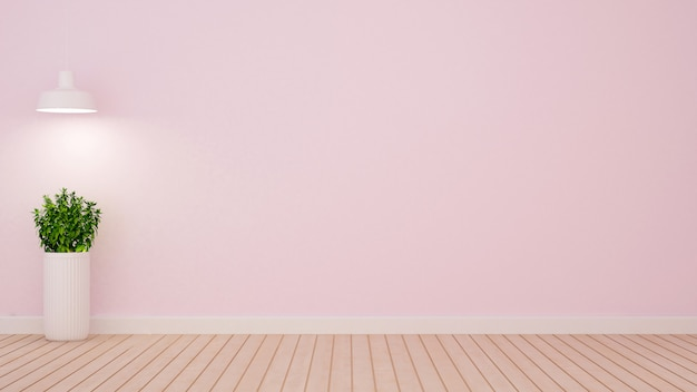 Planta e lâmpada pendente na sala vazia no tom rosa claro - 3d ren