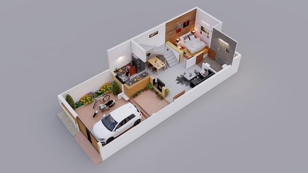 Planta interior 3d da casa individual