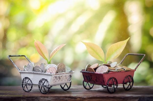 Planta que cresce em moedas de poupança no carrinho de mão para o conceito de negócio