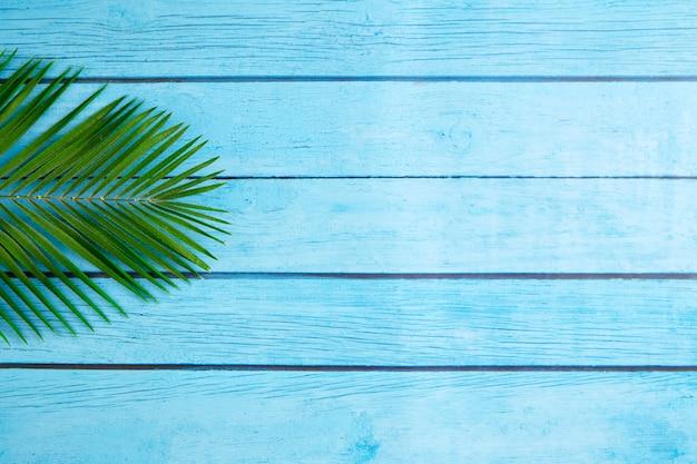 Planta tropical no chão de madeira azul